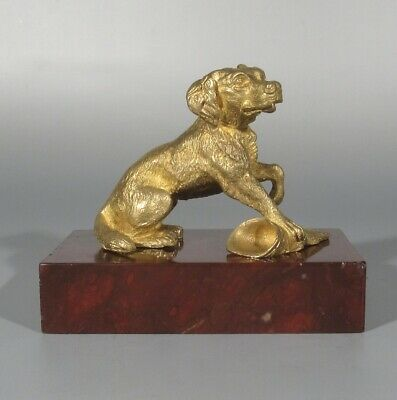 Antique French Gilded Bronze Dog Statuette Figurine, Quiver, Marble Base