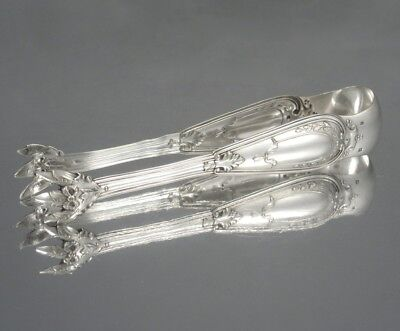 Antique French Silver Plate Sugar Tongs, Neoclassic Style, SignedAlfénide