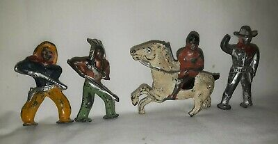Vintage Antique Cast Iron Cowboys And Indians Coy Figurines - LOT OF 4
