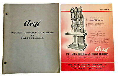 Vintage 1945 Avey Drilling Machine Bulletin Operator's Instruction w/Parts List