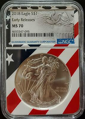 2018 Silver Eagle - Ms 70 - Ngc - Early Releases - American Flag Label