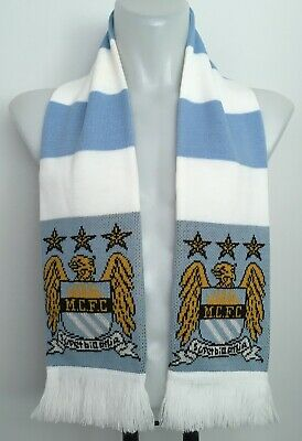 Manchester City FC Crest Knitted Bar Scarf Sky Blue/White Brand New