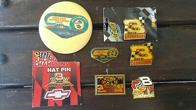 Collection of 8 Richard Petty Dale Earnhardt Buttons and Pins