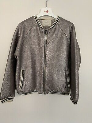 Girls Zara Age 7 Years Bomber Jacket Metallic Crackle Look Contrast Knit Trim