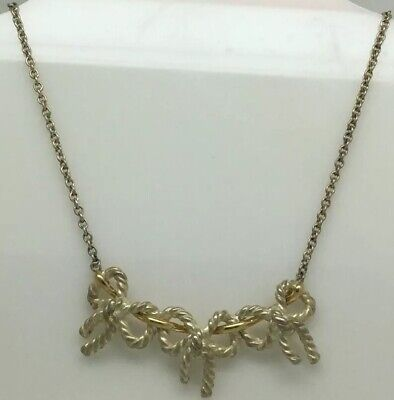 Tiffany & Co. Triple 3 Three Bow Ribbon Necklace, Sterling Silver 925 & 18K Gold