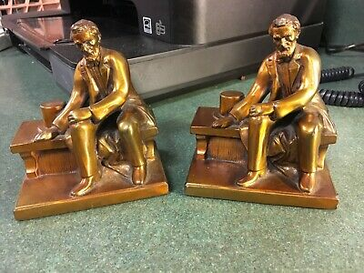 Abraham Lincoln Bookends Bronze Vintage Ronson