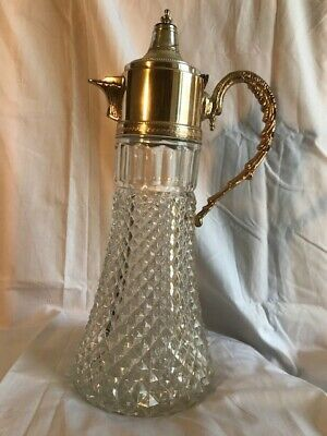 Crystal decanter with silver plated lid. 1960s.