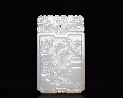 Chinese Exquisite Hand carved people Carving Hetian jade Pendant