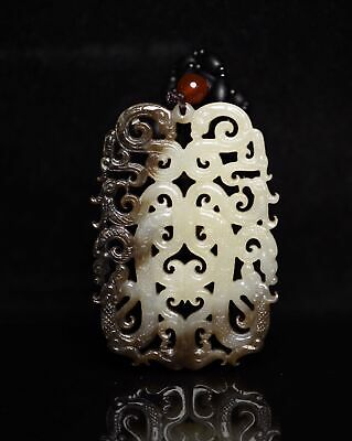 Chinese Exquisite Hand carved Dragon phoenix Carving Hetian jade Pendant