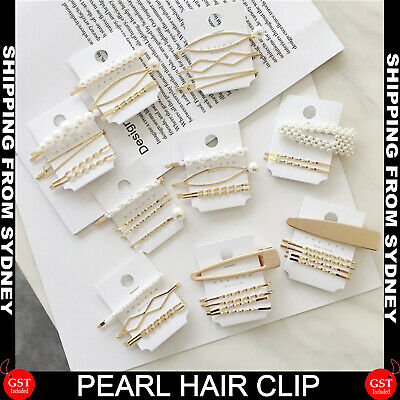 3/4Pcs Pearl Hair Clips Fashionable Woman Summer Hairpins Gold Clip Styling Tool