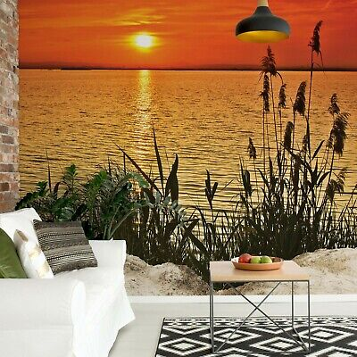 Sunset Coast and flowers Photo Wallpaper Wall Mural Fleece Easy-Install Paper