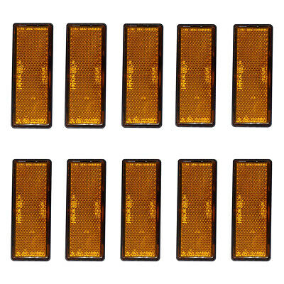 10 Self-Adhesive Amber Orange Rectangular Reflectors Trailer Caravan Side Marker