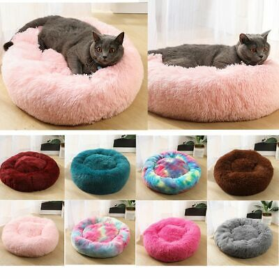Pet Dog Cat Calming Bed Warm Soft Plush Round Nest Comfortable Sleeping AU POST