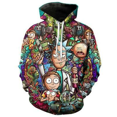 Men Women Rick and Morty Hooded Coat Sweatshirt Pullover Hoodie Top Jumper Loose