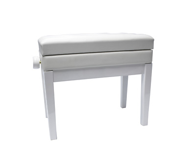 Beale BPB220WH Height Adjustable Piano Stool with Compartment Polished White