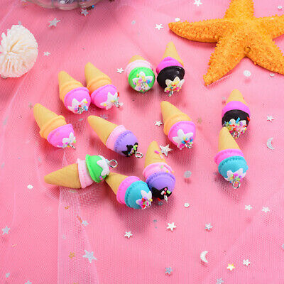 10PCS Polymer clay Ice Cream Charms Pendant Craft DIY Findings Jewelry Making EF