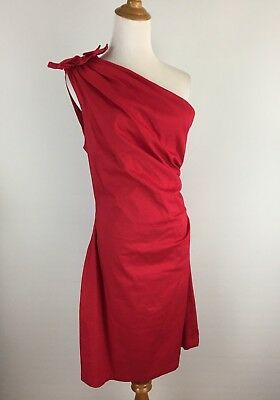 Mark & James Badgley Mischka Womens Sz 10 Red One Shoulder Rosette Dress A77