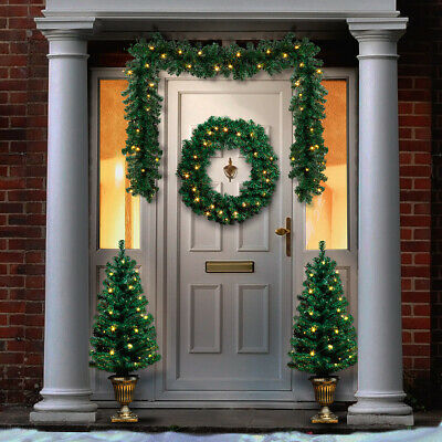 Green Christmas LED Wreath Garland Tree Pack | Door Hanging Decoration Outdoor