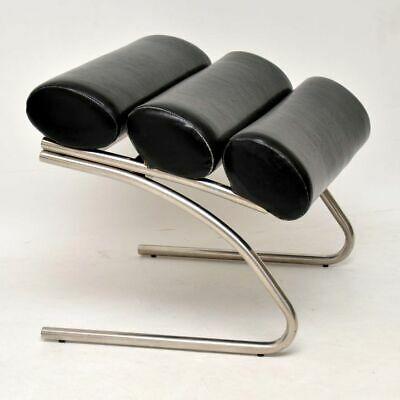RETRO CHROME & VINYL FOOT STOOL VINTAGE 1970's