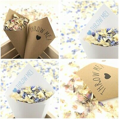 Handcrafted Personalised Wedding Confetti Cones 100% Recycled Sets 10 20 50 100