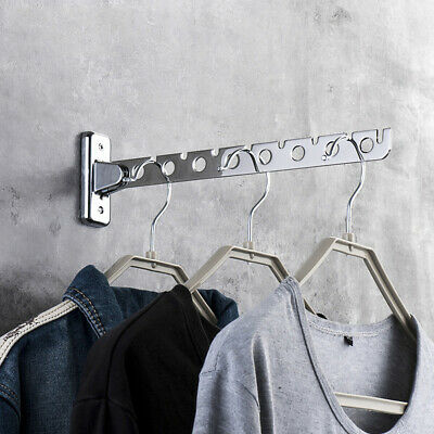 Stainless Steel Folding Wall Mount Hanger Retractable Clothes Drying Rack US