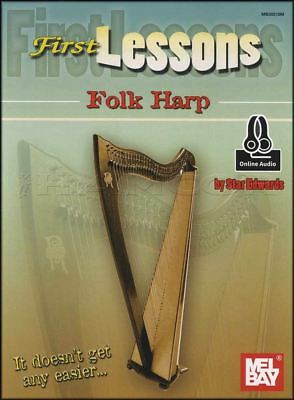 First Lessons Folk Harp Sheet Music Book with Audio Learn How To Play Method