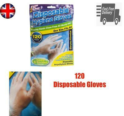 120 Disposable Hygiene Gloves In Resealable Bag Multi Purpose One Size Fits All