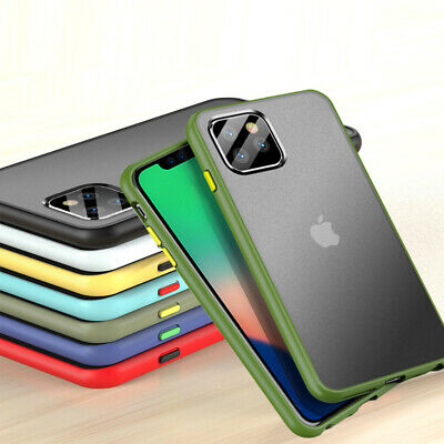 For Apple iPhone 11 Pro Max XS Shockproof Matte Translucent Silicone Case Cover
