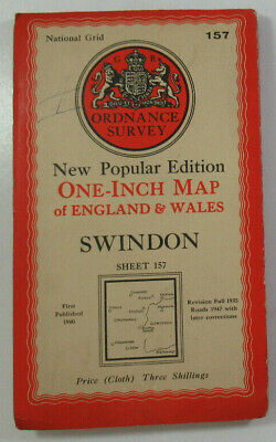 1947 Old OS Ordnance Survey One-Inch New Popular Edition CLOTH Map 157 Swindon