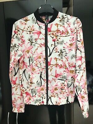 Brand New Ex Atmosphere Long Sleeve Floral Pink Cream Bomber Jacket 4-20