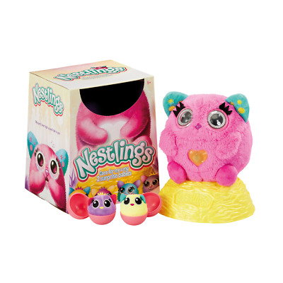 NESTLINGS Pink Plush Toy - gives birth to 2 surprise babies! Girls kids gift 5+