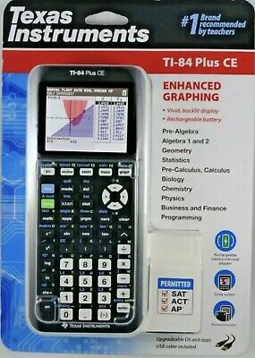 Texas Instruments Ti-84 Plus Ce Calculator Enhanced Graphing Black *New In Pack*