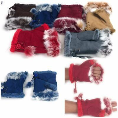 Ladies Fingerless Gloves Pom Pom Winter Faux Fur Mittens Soft Warm Lined Thermal