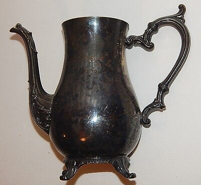 """Vintage Wm Rogers 800 Silver-plated 9"""" Footed Tea Pot *lid is missing"""