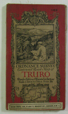 1929 Old OS Ordnance Survey one-inch Popular Edition Map 143 Truro & St Austell