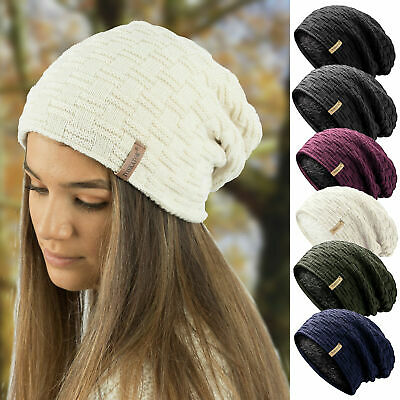 Ladies Mens Unisex Warm Winter Textured Knit Slouch Beanie hat TOSKATOK