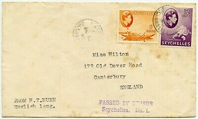 SEYCHELLES WW2 CENSORED 12c + 6c 1940 to CANTERBURY GB