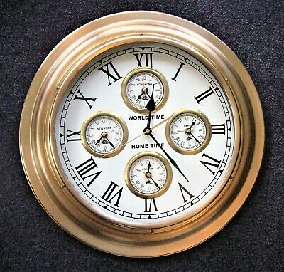 Large Vintage Brass World Time Wall Clock - Quartz
