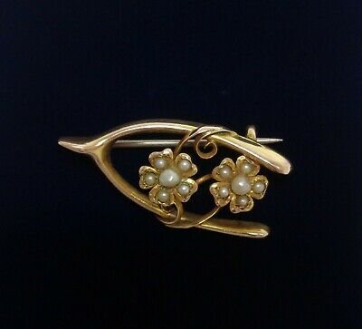 Antique c.1900 'Forget Me Not' Seed Pearl Brooch in 9ct Gold- Length 31mm - 2.5g