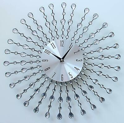 Clear Diamante 45cm Beaded Jeweled Wall Clock Silver Black Sunburst Metal