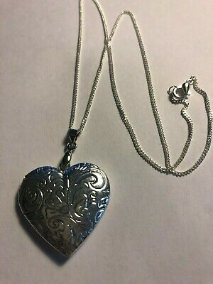 """20/"""" Openable Silver Locket Ornate Necklace Pretty Girlfriend Wife Birthday Gift"""