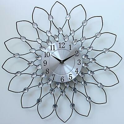 Clear Diamante Beaded Spiked Wall Clock Jeweled Sunflower Black Metal 50cm