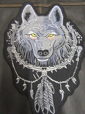 "Patch écusson  ""loup gris dans attrape rêve "" harley, moto; biker, chopper,lady"
