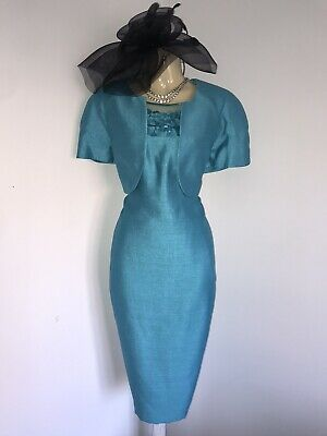 JACQUES VERT Size 18 Turquoise Dress Jacket Outfit Mother Of The Bride Bolero