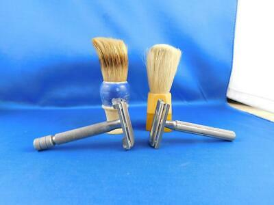 Gillette Vintage Razors Shavers Lot 2 & Shaving Brushes Lot 2 Rubberset Bakelite