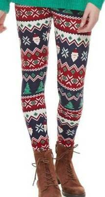 NEW $30 Jr Girls Womens SO Red Multi Santa Christmas Holiday Leggings Pants-  XL