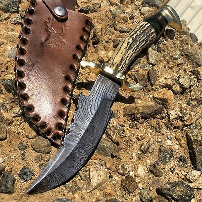 """8.5"""" Skinner Knife Hunting Damascus Steel Blade Leather Sheath Stag Handle Brown"""