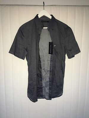 Brand New Mens French Connection Short Sleeve Grey Casual Fit Shirt Size M