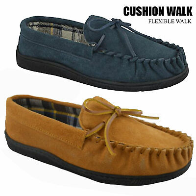 NEW MEN'S CUSHION WALK FAUX SUEDE MOCCASIN SLIPPERS NAVY or TAN Sizes UK 7 to 11