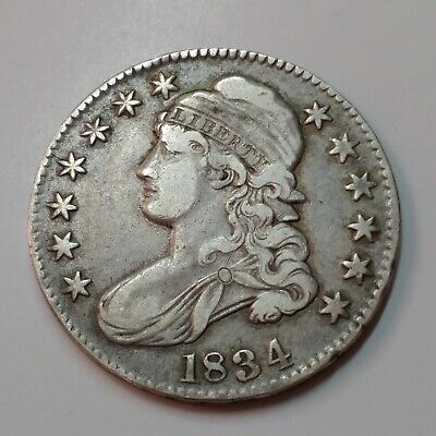 90% Silver CAPPED BUST 1834  COIN, US Half .50 Dollar